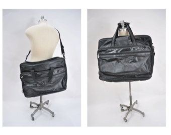 vintage leather bag GARMENT large black leather carry on tote