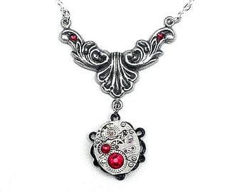 Ornate Steampunk Necklace,Neo Victorian,Gothic Jewellry,Edwardian Fantasy,Steam Punk Goth,Victorian Necklace,Burgundy Crystals