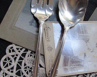 Set Vintage Silver Plate Large Serving Fork and Spoon - Silver Fashion 1957 Pattern