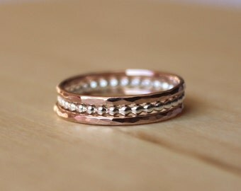 Rose Gold Stacking Rings - Set of 3 - Beaded Sterling Silver Ring,