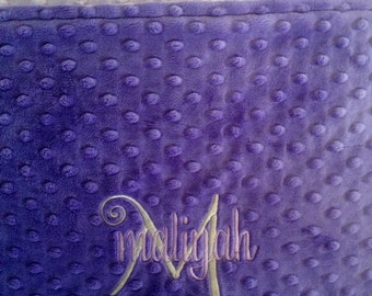 Personalized Monogrammed Lavender and Purple Minky Throw