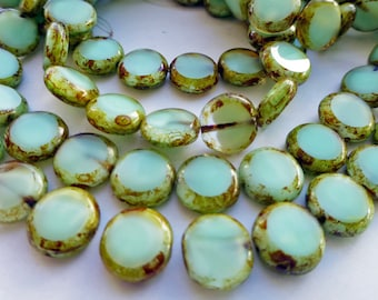 1 Strand of 15 Czech Glass Flat Round Disc Beads in Pastel Mint Green Opal with Picasso Edges  Size 11mm