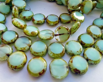 15 Czech Glass Flat Round Disc Beads in Pastel Mint Green Opal with Picasso Edges  Size 11mm