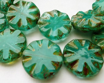 6 Czech Glass Round Wavy Disc Bead in Translucent Teal Opal with Picasso Pressed Design