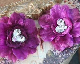 Very cute organza  flower with rhinestones 2 piece listing