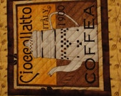 Coffee Theme Quilted Table Topper Mug Rug - Quiltsy Handmade