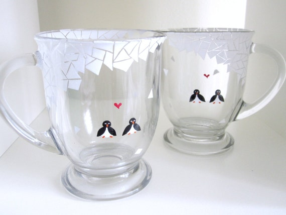 Penguins in Mosaic Winter Snow- Black and White - Hand Painted Clear Glass Coffee Mugs