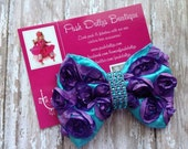 4 Turquoise Grape Purple Rosette CoutureBow Bling for Baby, Toddler, Girl Boutique Hairbow