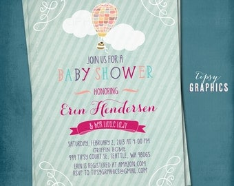 Hot Air Balloon. Sweet Baby / Bridal Shower Invite by Tipsy Graphics