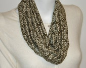 INFINITY  scarf soft OLIVE green print loop tube circle