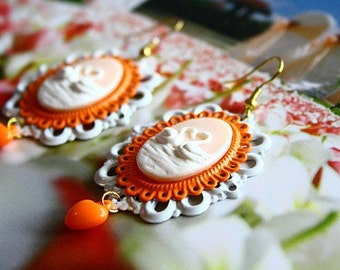 White swans in the fall season earrings