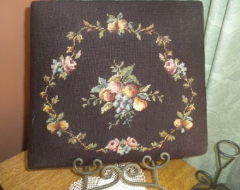 Vintage Needlepoint Chair Seat Cover
