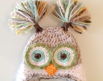 Owl, Girl Owl hat, Baby hat, Crochet owl hat, Custom Made, Taupe, Green, Baby owl hat, Photo Prop