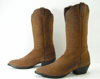 ariat cowboy boots womens 10 M brown western distressed leather mens 8.5 B vintage retro