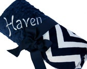 Standard Size Navy and Cream Minky Chevron Baby Blanket with Minky Back Personalization Included over 35 fonts to choose fro