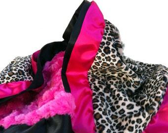 Twin Size New Double Ruffle Minky Blanket Hot Pink Leopard