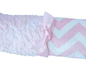 Pink and White Minky Chevron Baby Blanket with Pink Dot Minky Back, Stroller Size, Baby Shower Gift