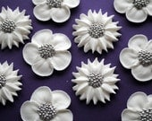 Cake decorations- White Wedding Flowers-  Royal Icing Cupcake Toppers with Silver Dragee Center- (12)