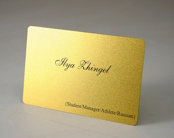 200 Business Cards - Gold shimmer plastic stock with rounded corners