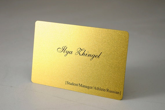 200 business cards gold shimmer plastic stock with rounded for 200 business cards
