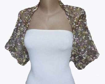 Knit Multicolor Bolero, Sleeves, Shrug, Wrap,  Weddings, Bridal, Bridesmaid, Women, Bridal Cover up, Bridal Shrug, Bridesmaids Shawl