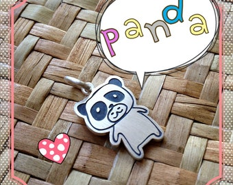 Doodle Panda Sterling Silver Pendant