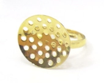 20 pcs.  Gold plated adjustable rings with an 17mm beading pad