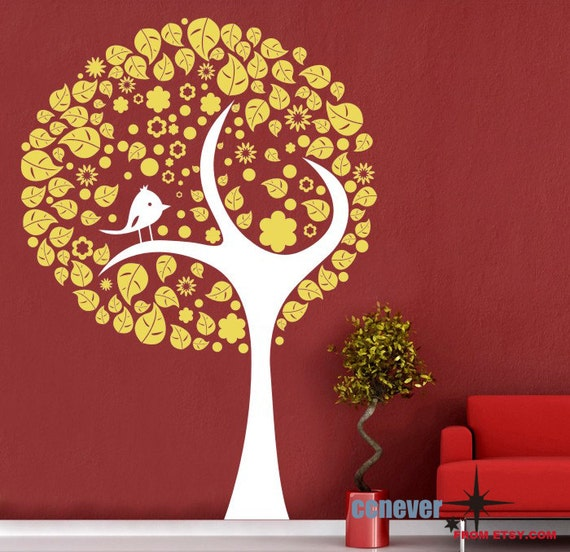 Stylish Tree Bird Leaves 45inch----Removable Graphic Art wall decals stickers home decor