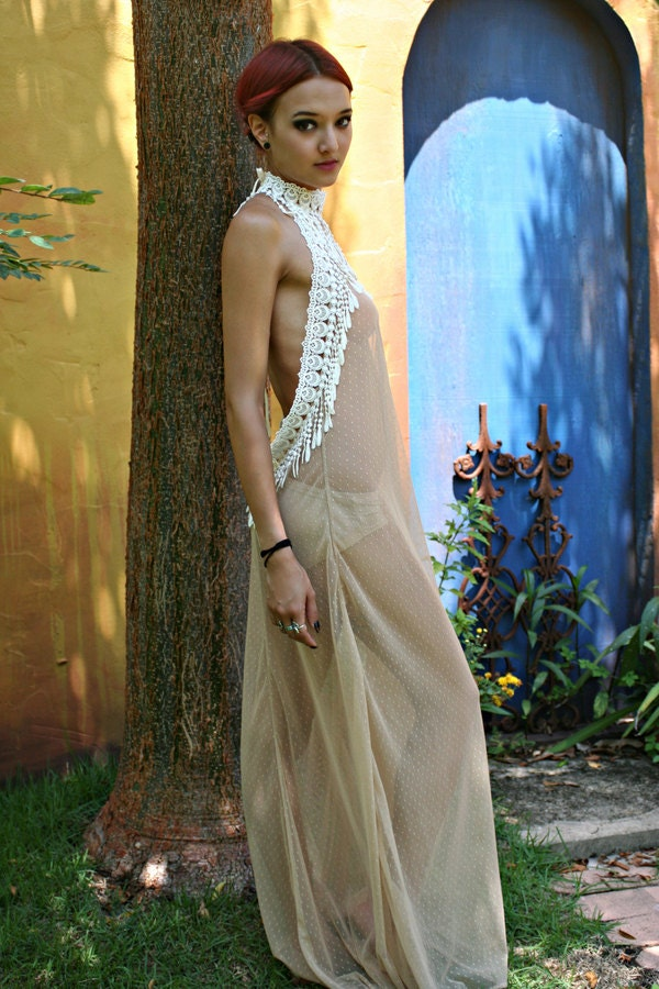 Bohemian Bridal Peacock Fringe Backless Nightgown Nude Sheer-1913
