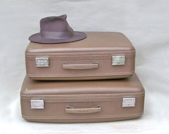 Two Matching Mid Century Osh Kosh Suitcases - Taupe in Color
