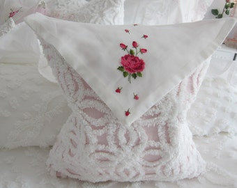 Chenille Cotton  Baby Pink Envelope Pillow Cover - Floral Vintage Hankie Flap -w- White Pops Chenille Bedspread - Shabby Chic