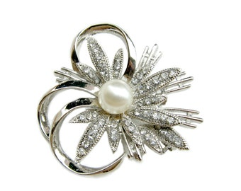 2 pcs Pearl Rhinestone Brooch Component - Bridal Shoe Clips, Hair Accessories, Brooch Bouquet, Garter BRO-007 (45mm or 1.8inch)