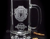 SOCCER BEER MUGS - Etched Glass Football Beer Mug Manchester United Arsenal Tottenham Spurs Chelsea Everton Beer Mugs Soccer Football Teams