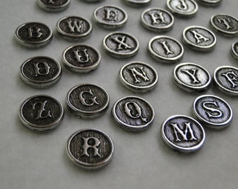 Typewriter Key Initial Jewelry  A-Z for charms pendants