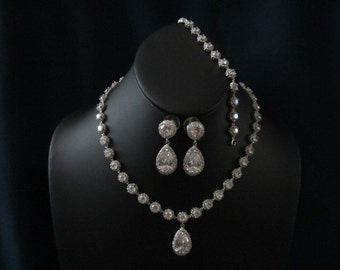 Bridal cz jewelry set - necklace, bracelet, earrings, bridal jewelry set, weddnig jewelry, bridal earrings, bridal necklace,