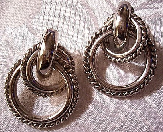 Twist Ring Hoops Clip On Earrings Silver Tone Vintage Givenchy 1970s Extra Large