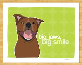 Pit Bull Funny Dog Art Print - Big Jaws Big Smile - Brown Pit Bull Gifts