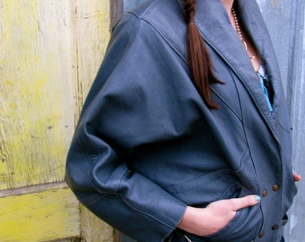 Vintage 1980s Soft Gray LEATHER Motorcycle Jacket with Slouchy Fit