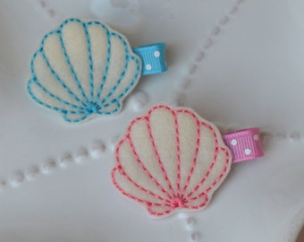 Seashell Hair Clip- Blue or Pink- Under the Sea Accessory