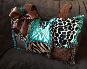 Custom Rag Quilted Diaper bag for Girl or Boy Teal, Leopard, Giraffe, Minky Soft Handbag, Purse
