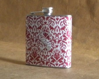 Personalized Bridesmaid Gift Red and White Damask Print 6 ounce Gift Flask with ANY Rhinestone Initial KR2D 6055