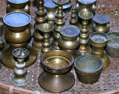 Collection of Vintage Brass Candle and Incense Holders