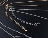2pcs- 23inch High Quality 14K,White Gold Filled solid brass tiny link with 2.5inch Extension Chain(N114)