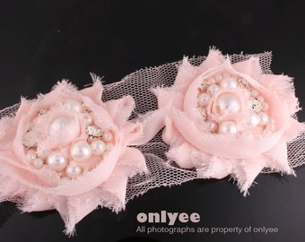 1pcs-55mm Rhinestone Centered Chiffon Flower for corsage,clothing,accessory and more-Pink(F213)