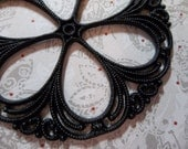 Large 55mm Round Black Lucite Filigree Connector or Pendant with Flower Design - Qty 4