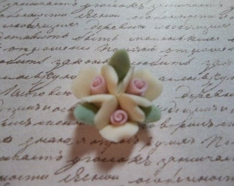 Ceramic Roses Triple Flower Cluster of Sweet Pastel Yellow Flat Back 18mm Cabochons with Pink Center and Green Leaves - Qty 2