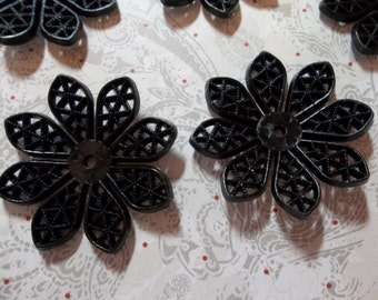 30mm Black Lucite Flower Shape Filigree Connector or Pendant - Qty 6
