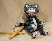 Cheshire Cat from Alice in Wonderland Marionette - made to order