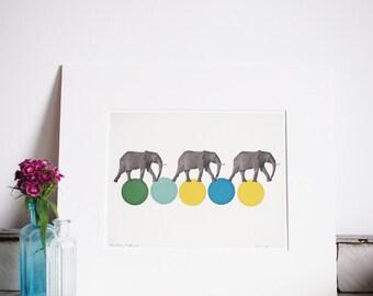 "Travelling Elephants. Matted 8x10"" Giclee print - Zoo animal art, elephant decor, circus, nursery art, kids room, yellow, green"