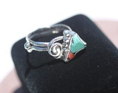 Large Split Double- Banded Turquoise Ring with Red Coral set in  Fine Silver SouthWest  Arrow  Band SIZE  11  -  11.5